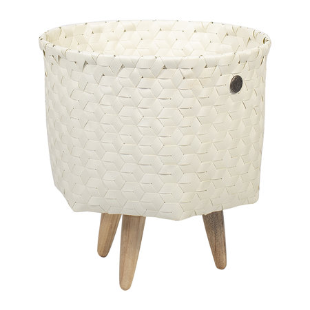Handed By - Dimensional Open Round Basket with Wooden Feet - Ecru White