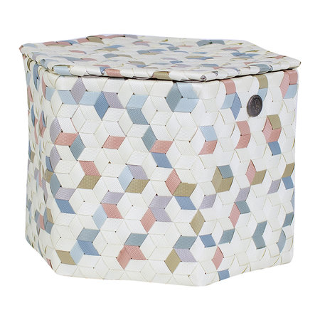 Handed By - Terrazzo Round Basket - Ecru White - Large