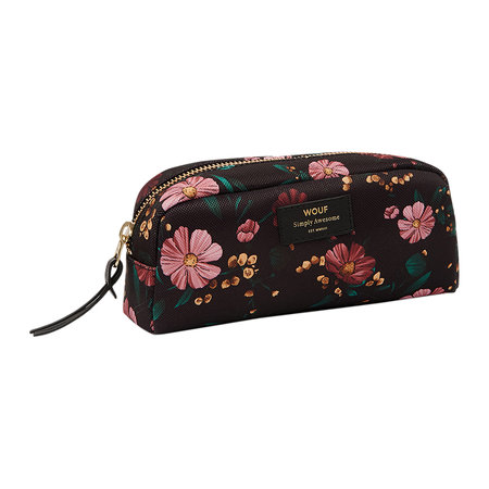 Wouf - Black Flowers Cosmetic Bag - Small