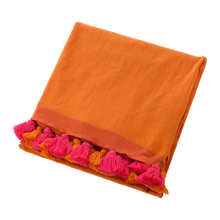 Global Explorer - Pom Pom Knitted Throw - 130x170cm - Pink & Orange