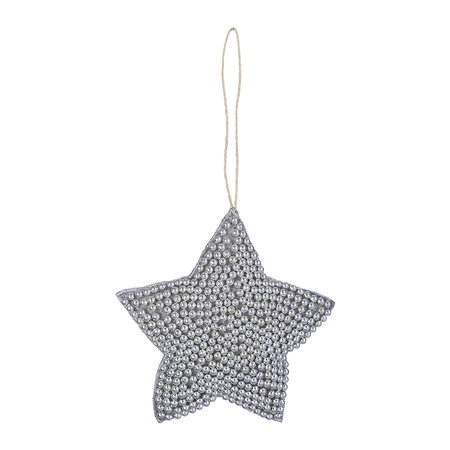 A by Amara - Beaded Embroidred Heart/Star Tree Decoration - Set of 2 - Gunmetal