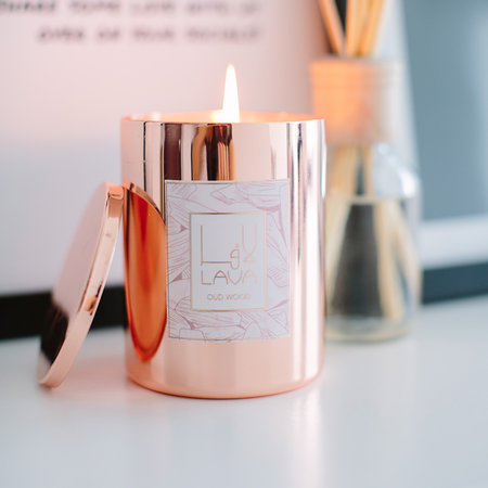 Lava Moments - Oud Candle - Rose Gold - Wood