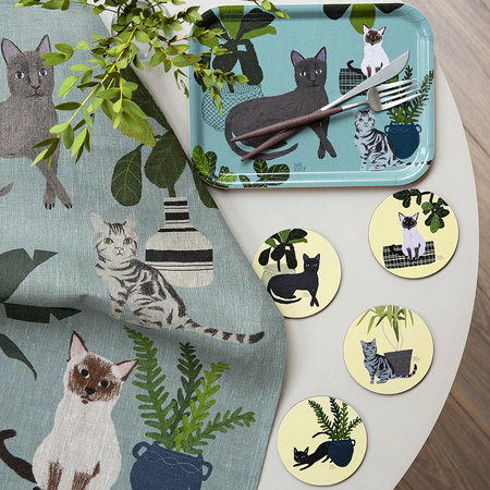 Avenida Home - Dessous-de-Verre Chats Anne Bentley - Bleu Persan