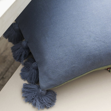 A by AMARA - Knitted Pom Pom Trim Pillow - 40x60cm - Blue & Green