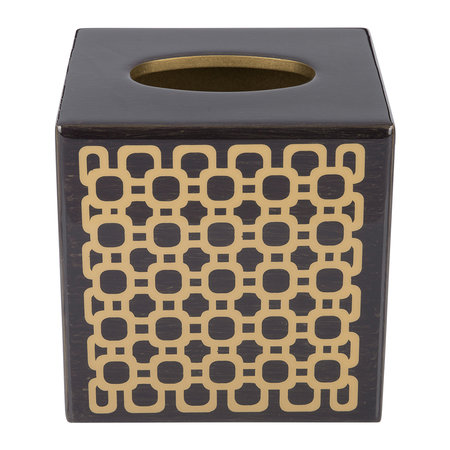 Mike + Ally - Meurice Tissue Box - Carved Chestnut / Gold