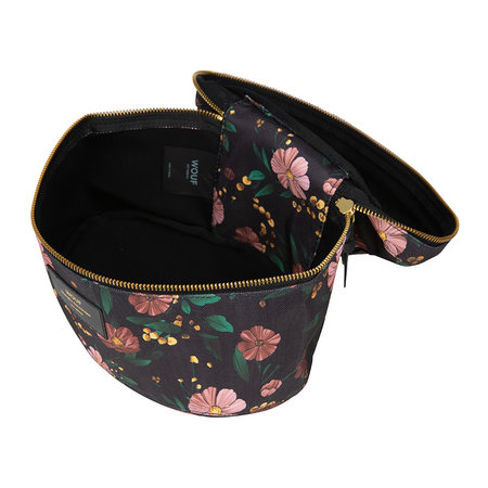 Wouf - Black Flowers Cosmetic Case