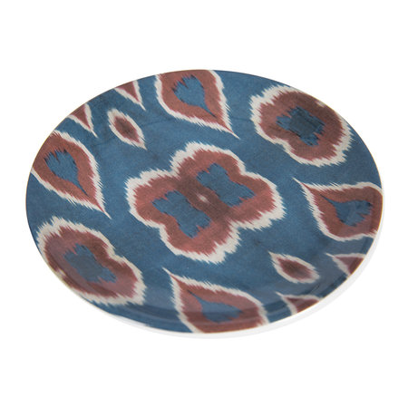 Les Ottomans - Ceramic Ikat Side Plate - Blue/Red