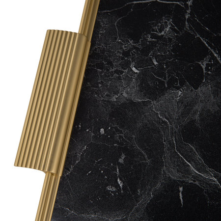 Kaymet - Ribbed Marble Tray with Handles - Black