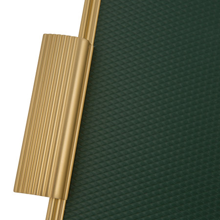 Kaymet - Ribbed Metal Tray with Handles - Forest Green/Gold