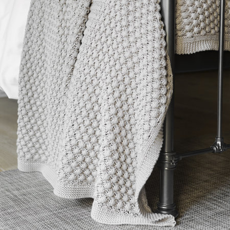 A by AMARA - Textured Knitted Throw - 130x170cm - Grey