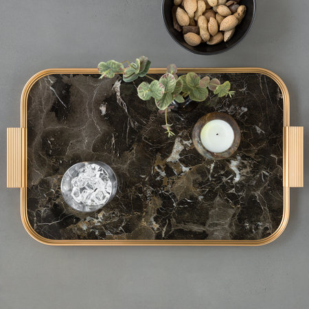 Kaymet - Ribbed Marble Tray with Handles - Brown
