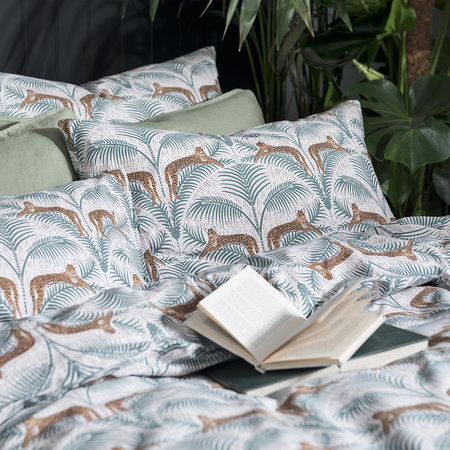 Fat Face - Lounging Leopards Duvet Cover - Fern Green - King