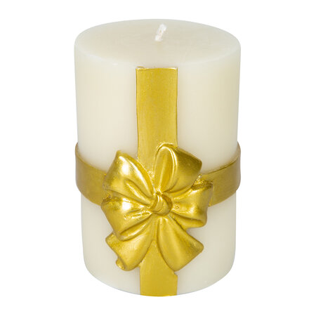 MacKenzie-Childs - Bow Pillar Candle - Gold