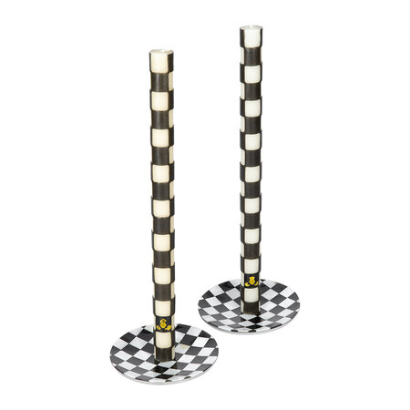 MacKenzie-Childs - Check Candle Holders - Set of 2 - Black/Pearl