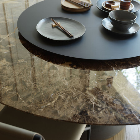Horm & Casamania - Barbara Round Marble Dining Table - Emperador