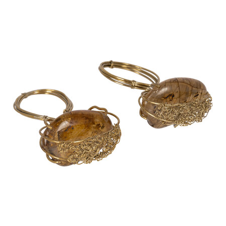 Luxe - Wrapped Stone Napkin Ring - Set of 4 - Amber