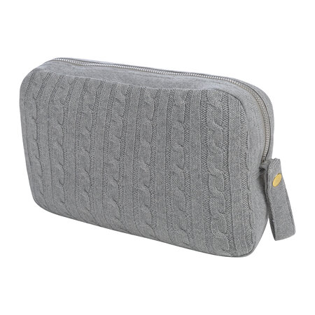 A by AMARA - Cable Knit Travel Kit - Light Grey