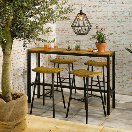 A by AMARA - Outdoor Wicker Bar Stool - White