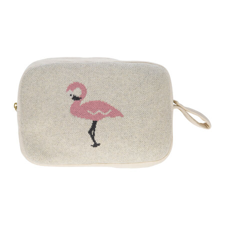 Retreat - Animal Knitted Travel Pouch With Blanket - Flamingo