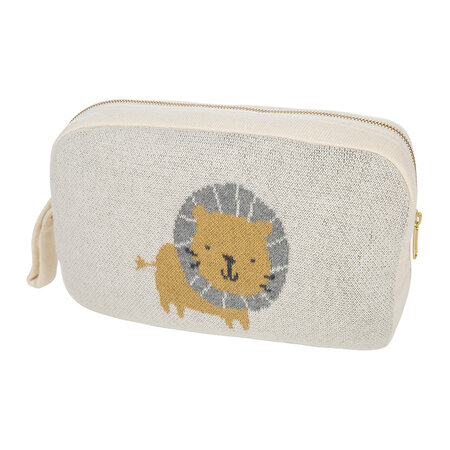 Retreat - Animal Knitted Travel Pouch With Blanket - Lion
