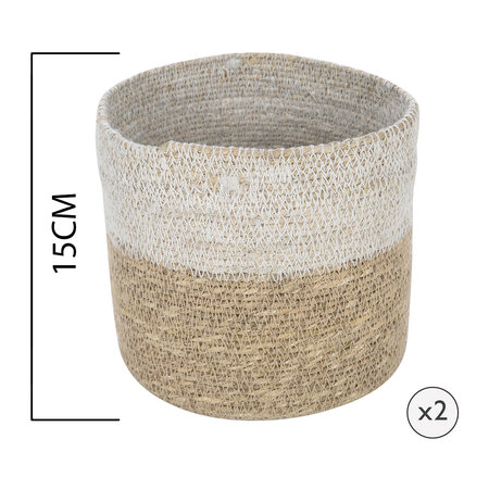 Global Explorer - Seagrass Storage Baskets - Natural/White - Set of 2