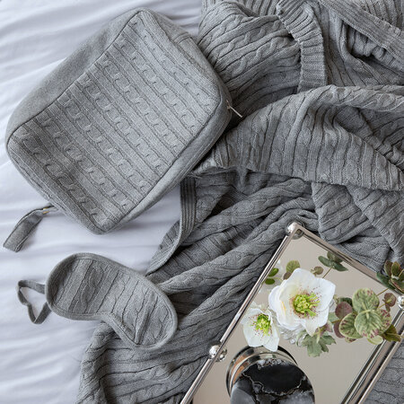 A by AMARA - Cable Knit Travel Kit - Light Gray
