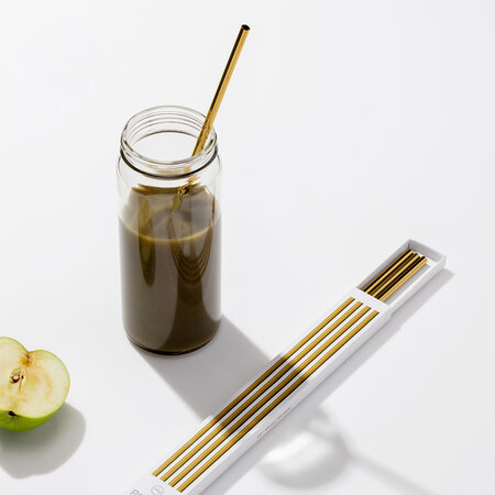W&P - Metal Straws with Cleaner - Set of 4 - Gold