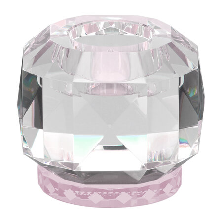 Reflections Copenhagen - Texas Crystal Tealight Holder - Clear/Rose