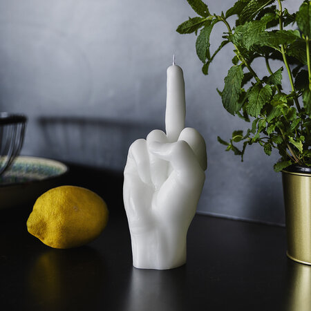 Candle Hands - Bougie « Fcuk you » - Blanc