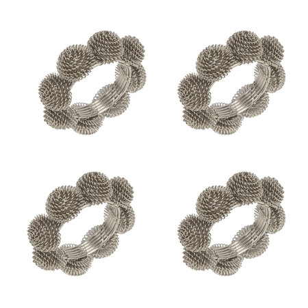 A by AMARA - Domed Wire Napkin Rings - Set of 4 - Silver