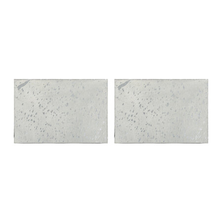 A by AMARA - Metallic Acid Cowhide Placemats - Set of 2 - Silver
