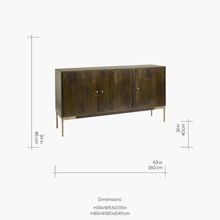 Nordal - 3 Section Buffet Table - Dark Wood