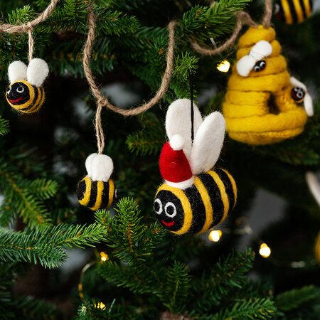 Felt So Good - Christmas Bumble Bee Tree Decoration - Set of 3