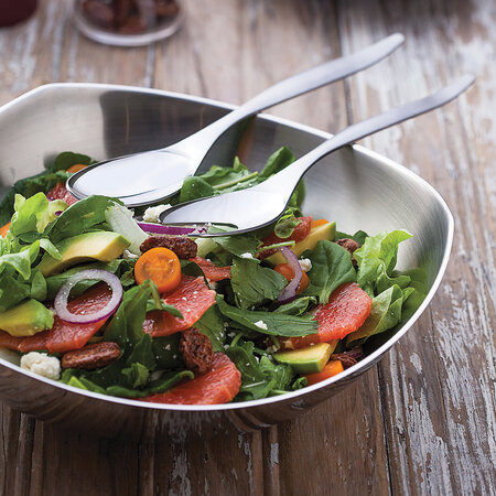 Tramontina - Stainless Steel Salad Bowl with Serving Spoon and Fork