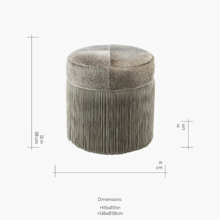 Luxe - Cowhide Chain Pouf - Grey/Silver