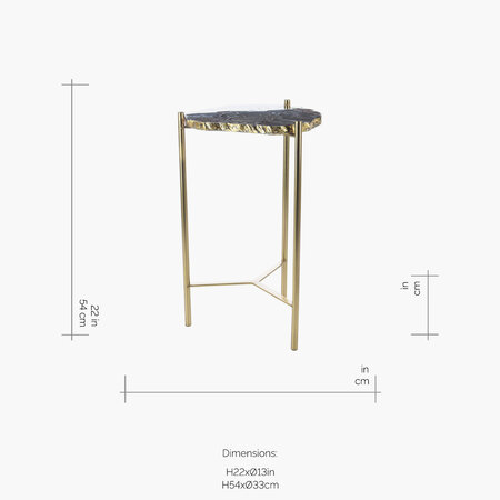 Luxe - Agate Slab Side Table - Black