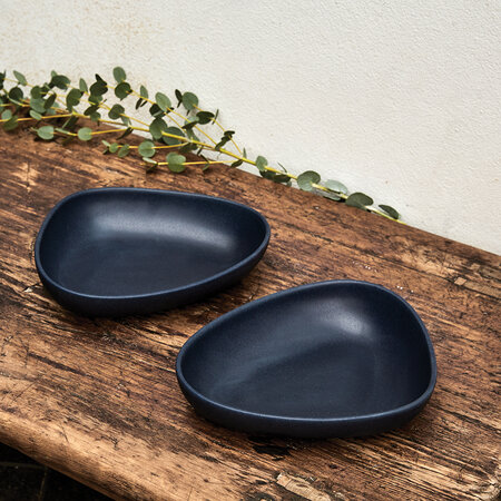 LIND DNA - Curve Stoneware Deep Plate - Navy Blue