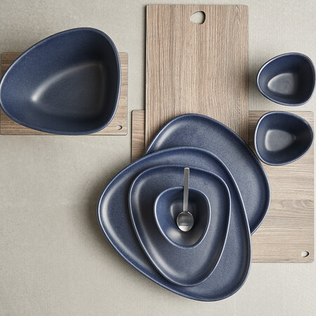 LIND DNA - Curve Stoneware Dinner Plate - Navy Blue
