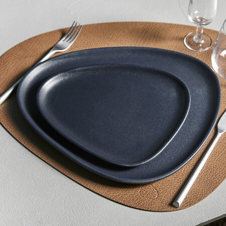 LIND DNA - Curve Stoneware Lunch Plate - Navy Blue