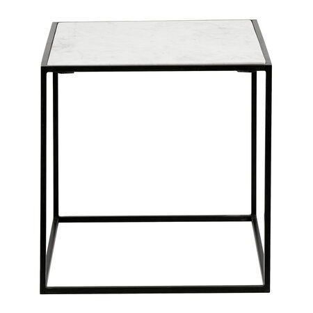 Nordal - Cube Side Table - White Marble - Small