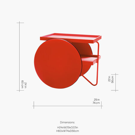 Horm & Casamania - Table Chariot - Rouge Fluro