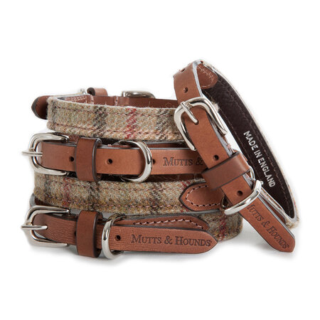 Mutts & Hounds - Tweed balmoral/collier en cuir tanné - grand