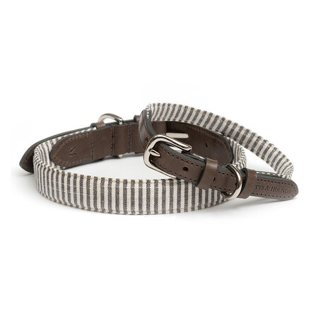 Mutts & Hounds - Charcoal Stripe/Charcoal Leather Collar - Small/Wide