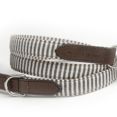 Mutts & Hounds - Charcoal Stripe/Charcoal Leather Lead - Wide