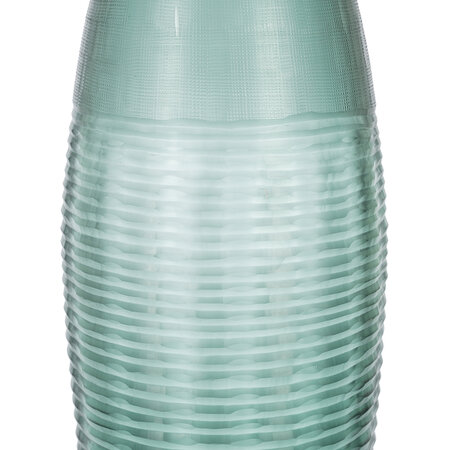 Retreat - Striped and Ribbed Glass Vase - Green