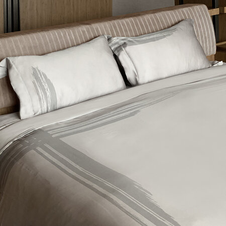 André Fu Living - Artisan Brush Duvet Set - Grey On Beige - Emperor