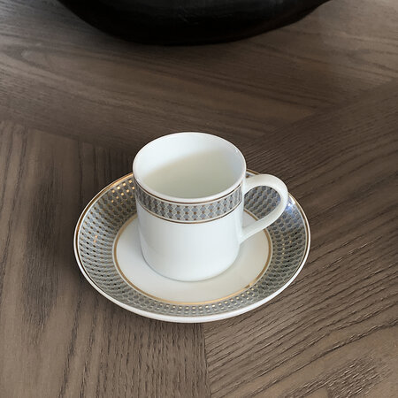 André Fu Living - Modern Vintage Coffee Cup With Saucer - Set Of 2 - Blue/Gold