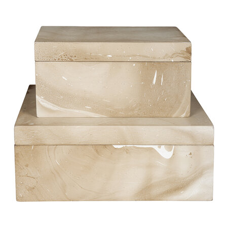 Retreat - Light Marble Wooden Trinket Box - Large