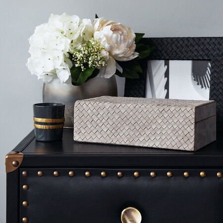 Luxe - Woven Leather Jewellery Box - Grey