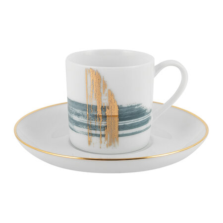 André Fu Living - Artisan Brush Coffee Cup With Saucer - Set Of 2
